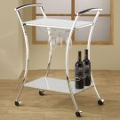 Modern Contemporary Glass Metal Black White Wine Rack Trolley Cart By COZY™