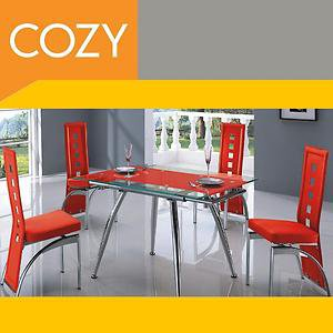Modern small Dining Room Set SALE Black-Grey-Beige-Red Glass&Metal  by COZY�
