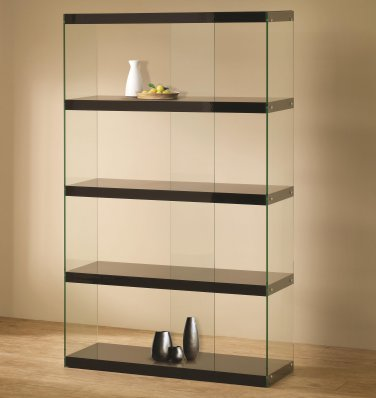 MODERN GLASS BOOKCASE DISPLAY IN BLACK OR WHITE BY COZY�
