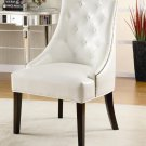ACCENT UPHOLSTERED CHAIR IN WHITE, BEIGE, AND BLACK TUFTED BUTTON BY COZY™