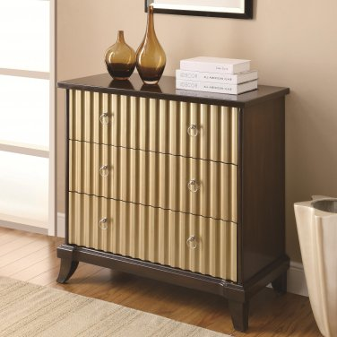 ACCENT BROWN AND GOLD RIBBED CABINETS FRONT ACCENT CABINET BY COZY�
