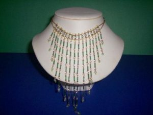 White Pearls W/ Emerald Funnel Beads - TBM-NC-001
