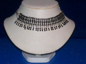 Choker Japanese Round Black Glass Beads -TBM-BBN-005