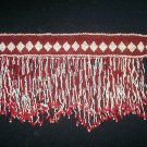 White & Red Hand Seed Beaded Belt  - TBM-BDB-003