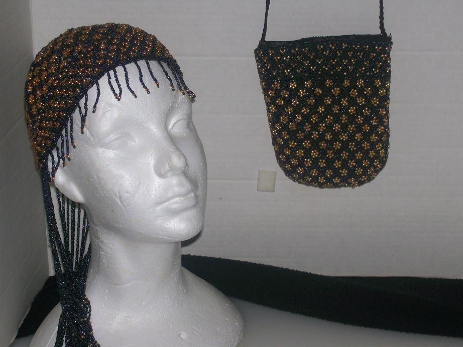 Beaded Cap & Matching Shoulder Bag Set -TBM-BCS-002