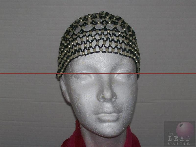 Beaded Caps W/O Fringe -Black & Pearl---TBM-BHP-022