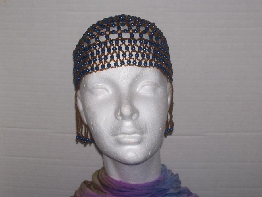 Beaded Head Piece - Blue & Brown ---TBM-HBP-029