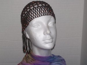 Beaded Head Piece- Dark Brown & Bronze-TBM-BHP-030