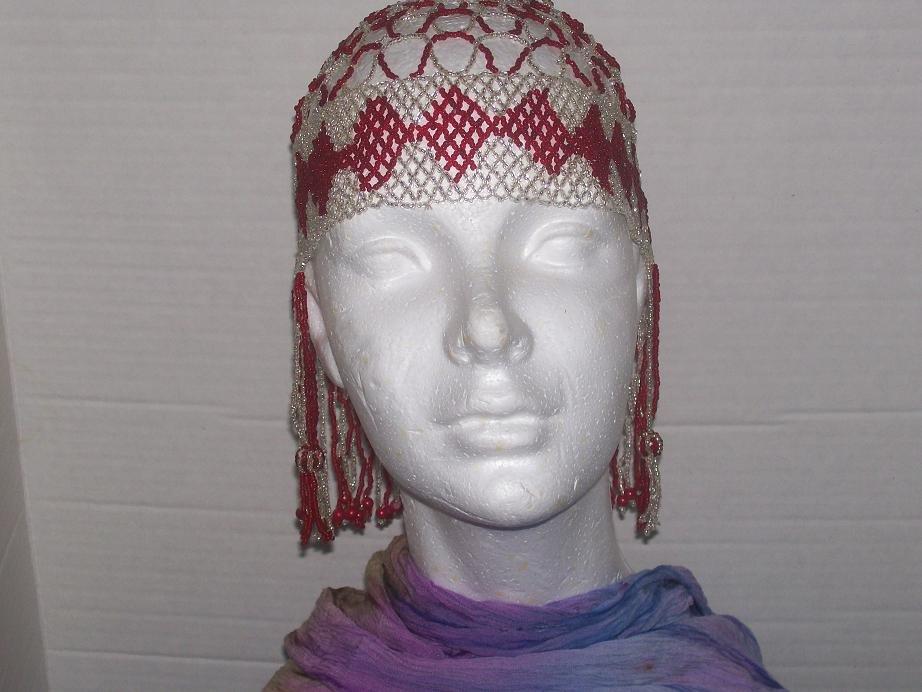 Egyptian Beaded Head Piece - Red & Silver-TBM-BHP-032
