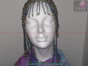 Hand Beaded Head Piece - Gold & Hematite - TBM-BHP-011