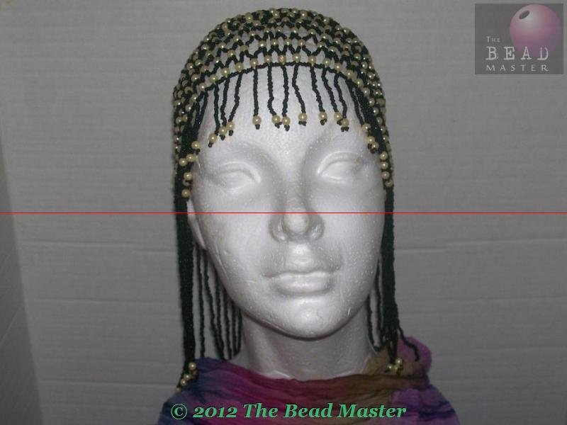 Hand Beaded Head Piece -  Black & Pearl --- TBM-BHP-006