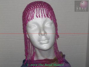 Hand Beaded Head Piece - Fushia - TBM-BHP-013