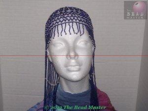 Long Hand Beaded Head Piece - White Pearls & Blue - TBM-BHP-036