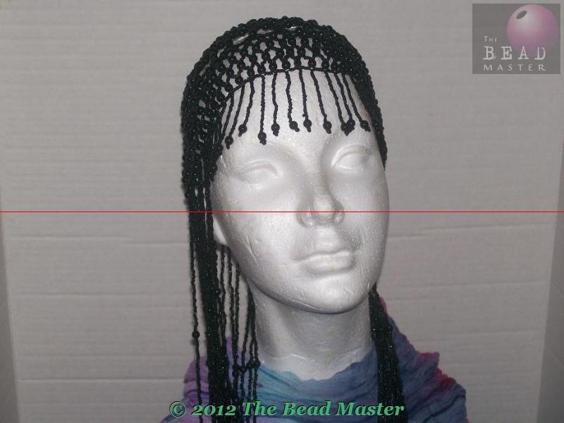 Long Hand Beaded Head Piece - Black - TBM-BHP-037