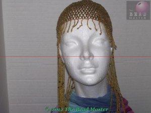 Long Hand Beaded Head Piece - Gold & Black - TBM-BHP-038