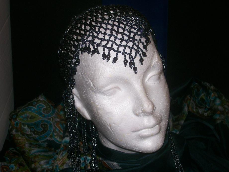 Long Hand Beaded Head Piece- Black & Charcoal - TBM-BHP-044