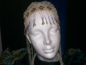 Long Hand Beaded Head Piece - Silver & Mixed - TBM-BHP-045