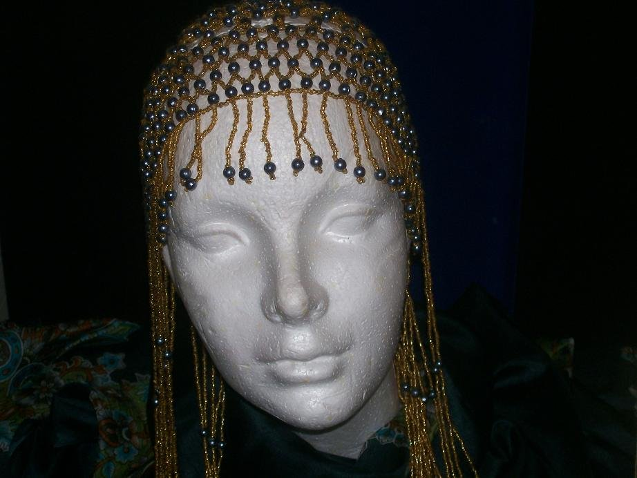 Long Hand Beaded Head Piece - Gold & Hematite -TBM-BHP-046