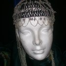 Long Hand Beaded Head Piece - Black & Silver -TBM-BHP-047