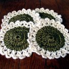 Large flower hand crocheted coasters - set of four.