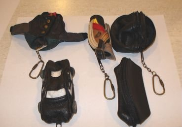 Palm-size leather key chains