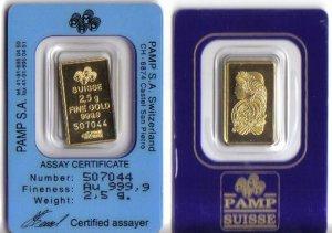 2.5 gram pamp suisse gold bullion Brand New