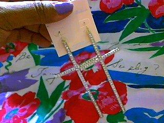 Gold Rhinstone Cross Earrings (Large)
