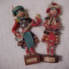 Handcrafted Wooden Dolls (2) in Native Costume Lishaw