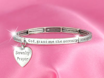 RELIGIOUS SERENITY PRAYER STACKABLE BANGLE CHARM BRACELET