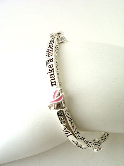 PINK RIBBON BREAST CANCER AWARENESS STACKABLE BANGLE BRACELET