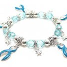 BLUE RIBBON OVARIAN CANCER AWARENESS CHARM BRACELET