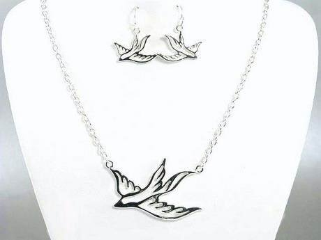 EAGLE SPARROW BIRD DOVE TATTOO NECKLACE SET