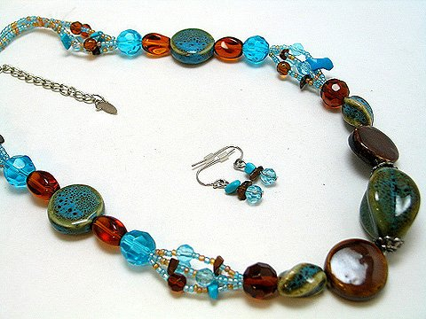 BLUE AQUA BROWN CERAMIC CRYSTAL SET