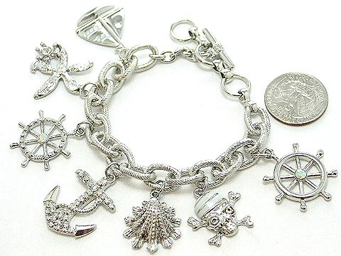WHITE NAUTICAL PIRATE SEA SKULL BOAT SHELL PIRATES CARIBBEAN BRACELET