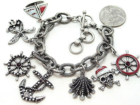RED NAUTICAL PIRATE SEA SKULL BOAT SHELL PIRATES CARIBBEAN BRACELET