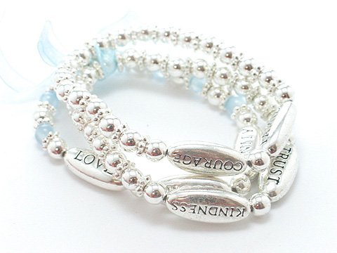 BLUE REVERSIBLE HUMANITY LOVE KINDNESS WORDS RIBBON BEAD BRACELET