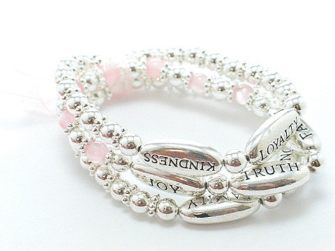 PINK REVERSIBLE HUMANITY LOVE KINDNESS WORDS RIBBON BEAD BRACELET