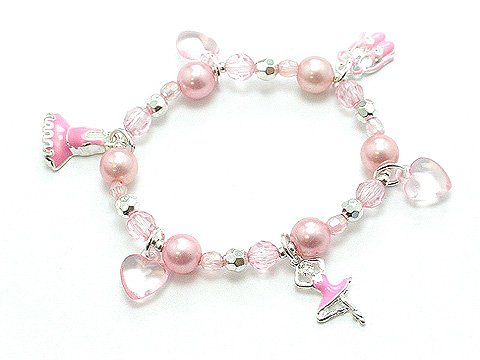 KIDS GIRLS BALLET PEARL BEAD BRACELET