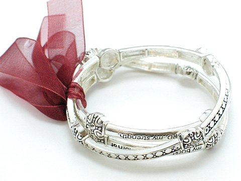 RELIGIOUS PSALM 18:1-2 THREE BANGLE RIBBON BRACELET