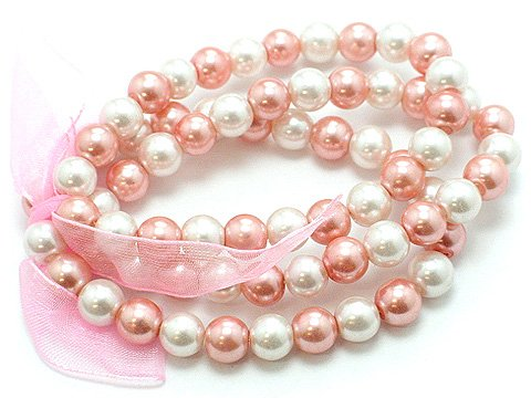 LIGHT PINK ROSE FAUX PEARL GLASS BEAD RIBBON BRACELET