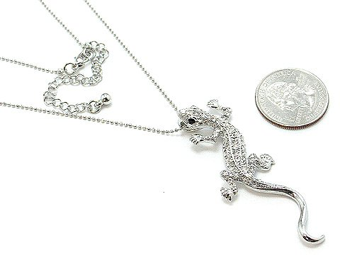 REPTILE LIZARD IGUANA AUSTRIAN CRYSTAL NECKLACE