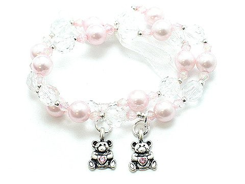 KIDS GIRLS CHILDS TEDDY BEAR FAUX PEARL BEAD BRACELET