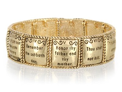 RELIGIOUS GOLD TONE TEN COMMANDMENTS BANGLE BRACELET
