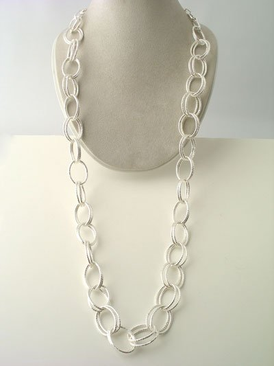 LONG TEXTURED DOUBLE LINK METAL SILVER TONE NECKLACE