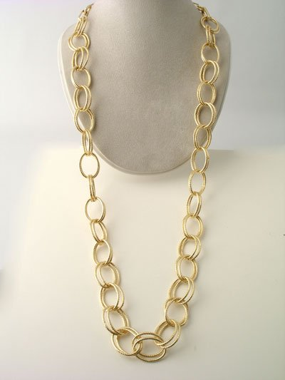 LONG TEXTURED DOUBLE LINK METAL GOLD TONE NECKLACE