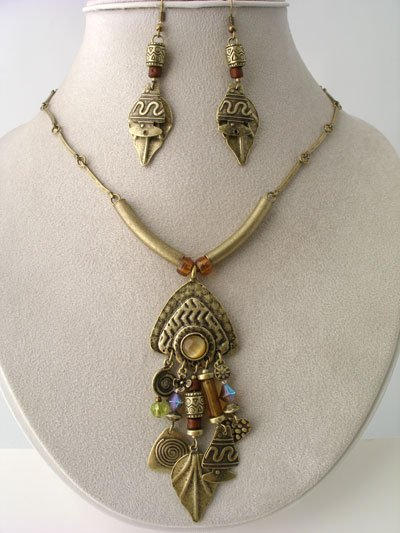 BOHO CHUNKY BRASS METAL NECKLACE BEAD SET