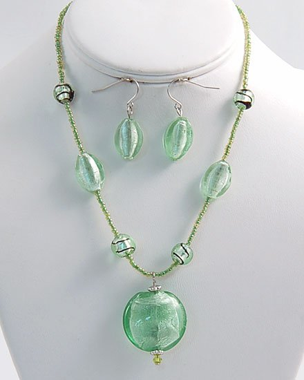 LIGHT GREEN  MURANO ITALIAN GLASS CIRCLE SET