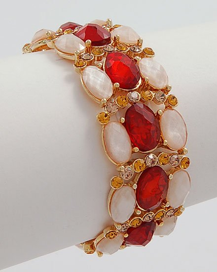 LIGHT BROWN FAUX TOPAZ CRYSTAL FACETED LUXURY BRACELET
