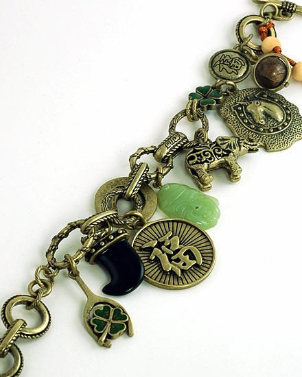 GOOD LUCK ELEPHANT HORSE SHOE SHAMROCK BRACELET