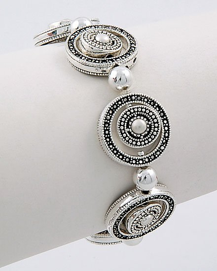 OPEN CIRCLE LINK MARCASITE BEAD BALL BRACELET